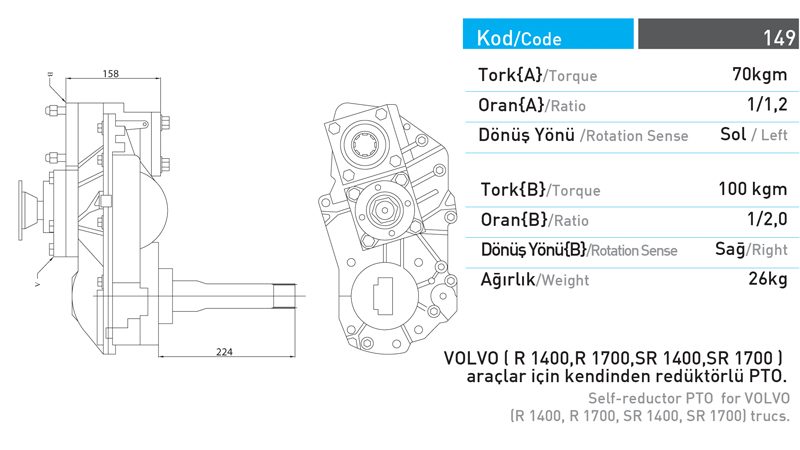 PTO with Internal Redactor for Volvo Trucks